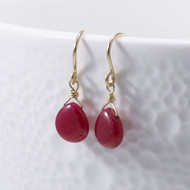 Ruby Drop Earrings, 14k Gold Filled