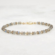 Labradorite and Smoky Quartz Bracelet with 14k Gold Filled Clasp