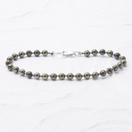 Pyrite Bracelet 4mm Beads Sterling Silver