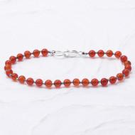 Carnelian Bracelet 4mm Beads Sterling Silver