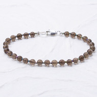 Smoky Quartz Bracelet 4mm Beads Sterling Silver