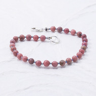 Rhodonite Bracelet 4mm Beads Sterling Silver