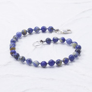 Sodalite Bracelet 4mm Beads Sterling Silver