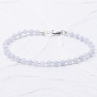 Blue Lace Agate Anklet Sterling Silver