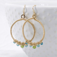 Apatite and vesuvianite gemstone hoop earrings, 14k gold filled wire wrapped.