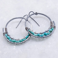 Turquoise Wire Wrapped Hoop Earrings Oxidized Silver