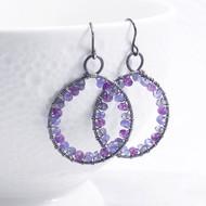 Tanzanite, Amethyst, and Iolite Hoop Earrings Sterling Silver