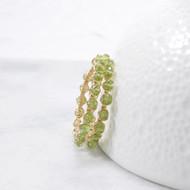 Wire Wrapped Earrings Peridot Hoops 14k Gold Filled