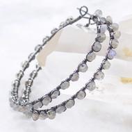 Labradorite Large Hoop Earrings Oxidized Silver Wire Wrapped