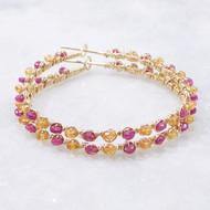 Sapphire Hoop Earrings Pink Orange 14k Gold Filled