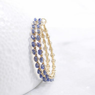 Blue Earrings Kyanite Gemstone 14k Gold Filled Hoop Wire Wrapped