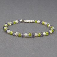 Iolite, Vesuvianite, Opal Bead Bracelet, Sterling Silver