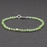 Peridot Bead Bracelet Sterling Silver