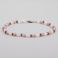 Rhodochrosite, Garnet, Rose Quartz Bead Bracelet Sterling Silver