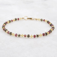 Citrine, Garnet, Pyrite Bead Bracelet 14k Gold Filled