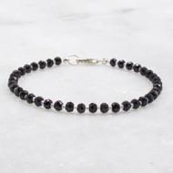 Black Spinel Bead Bracelet Sterling Silver