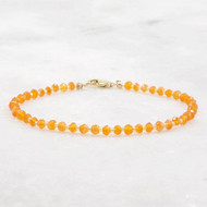 Carnelian Bead Bracelet 14k Gold Filled