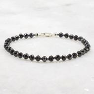 Black Spinel Bracelet Sterling Silver Clasp