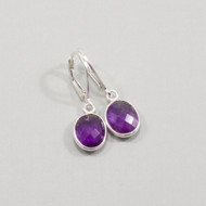Amethyst Earrings Drop Sterling Silver Lever Back