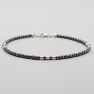 Hematite Sterling Silver Tube Bracelet 2mm
