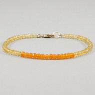 Citrine and Carnelian Bracelet 14k Gold Filled Clasp