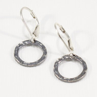 Small Silver Circle Hoop Earrings Lever Back