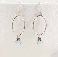 Blue Topaz Cluster Dangle Earrings Sterling Silver