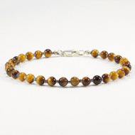 Tiger Eye Bracelet 4mm Beads Sterling Silver