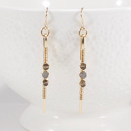 Long Stick Earrings Smoky Quartz Labradorite 14k Gold Filled