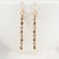 Long Stick Gemstone Earrings Labradorite Smoky Quartz 14k Gold Filled