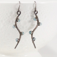 Handmade Blue Topaz Dangle Earrings Oxidized Silver