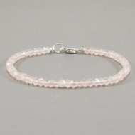 Rose Quartz Bracelet Sterling Silver 3mm