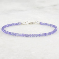Tanzanite Bracelet Sterling Silver 3mm Rondelles