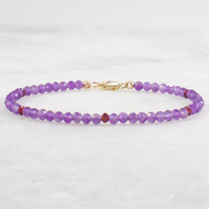Amethyst with Garnet Beaded Bracelet 14k Gold Filled