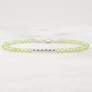 Peridot and Sterling Silver Beaded Gemstone Bracelet