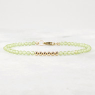 Peridot and 14k Gold Filled Beaded Gemstone Bracelet