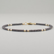 Hematite Bracelet Ultra Skinny 14k Gold Filled