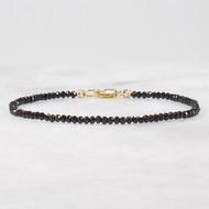 Black Spinel Ultra Skinny Bracelet 14k Gold Filled