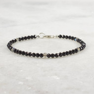 Black Spinel Bracelet with Labradorite Sterling Silver