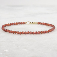 Hessonite Garnet Beaded Bracelet 14k Gold Filled
