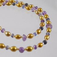 "Amethyst, Iolite and Freshwater Pearl 38"" Necklace"