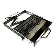 "Adesso 1U 19"" Rack-mount drawer with Black USB Touchpad Keyboard"