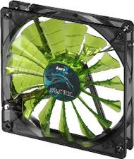 Aerocool Shark Fan 12cm-Green w/ LED, 15-Blade Design, Fluid Dynamic Bearing, Noise Reduction