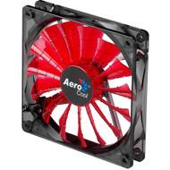 Aerocool Shark Fan 12cm-Red w/ LED, 15-Blade Design, Fluid Dynamic Bearing, Noise Reduction