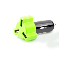 Mbeat 4.8A 24W Triple-port Rapid Car Charger Green