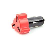Mbeat 4.8A 24W Triple-port Rapid Car Charger Red