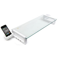 Smart Monitor Stand, 3 x USB Port, Tempered Glass, Cup / Business Card and Mobile Phone Holder White