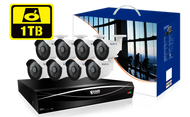 KGUARD HD1681 16-CH Hybrid DVR -1080P/720P/960H/Onvif IP cam support & 8 x WA713A with 1TB HDD