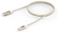 Promate 'linkMate-LTM' Apple MFI Certified Aluminum Mesh Braided Lightning Sync /Charge Cable, Gold