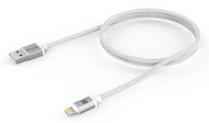 Promate 'linkMate-LTM' Apple MFI Certified Aluminum Mesh Braided Lightning Sync/Charge Cable, Silver